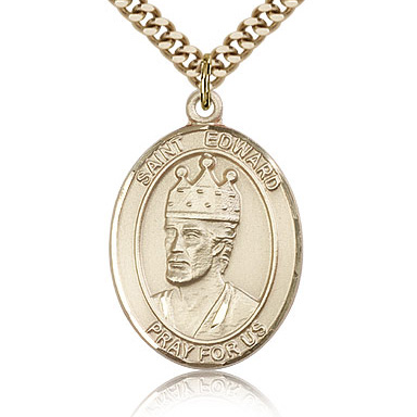 Gold Filled 1in St Edward Medal & 24in Chain
