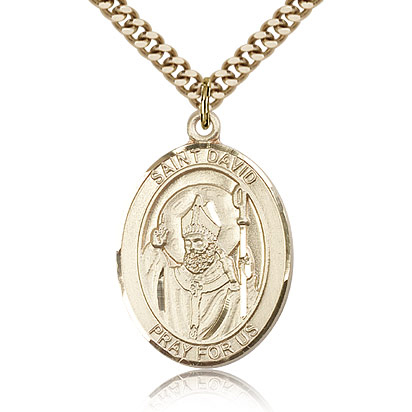 Gold Filled 1in Oval St David Medal & 24in Chain