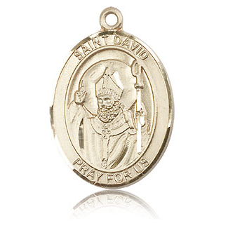 14kt Yellow Gold 1in St David Medal