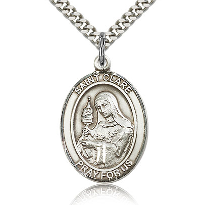 Sterling Silver 1in St Clare Medal & 24in Chain