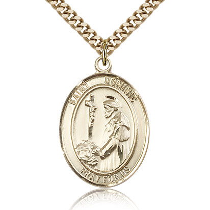Gold Filled 1in St Dominic Medal & 24in Chain