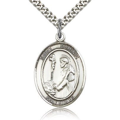 Sterling Silver 1in St Dominic Medal & 24in Chain