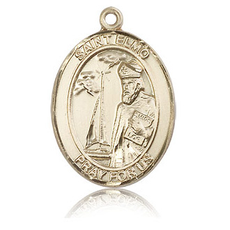 14kt Yellow Gold 1in St Elmo Medal