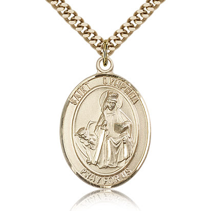 Gold Filled 1in St Dymphna Medal & 24in Chain