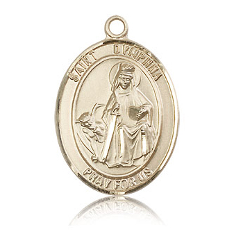 14kt Yellow Gold 1in St Dymphna Medal