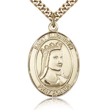 Gold Filled 1in Oval St Elizabeth of Hungary Medal & 24in Chain