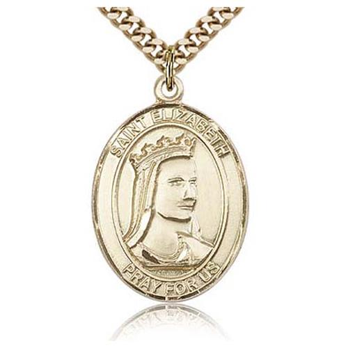 Gold Filled 1in St Elizabeth Medal & 24in Chain