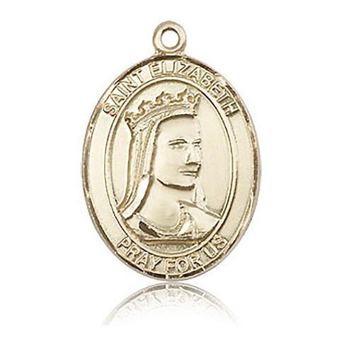 14kt Yellow Gold 1in St Elizabeth Medal