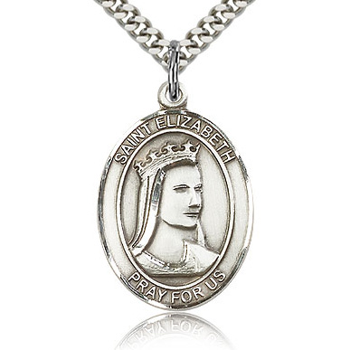 Sterling Silver 1in St Elizabeth Medal & 24in Chain