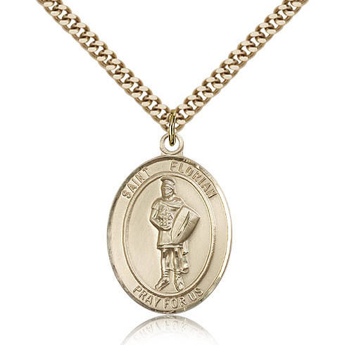 Gold Filled 1in Oval St Florian Medal & 24in Chain