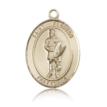 14kt Yellow Gold 1in St Florian Medal