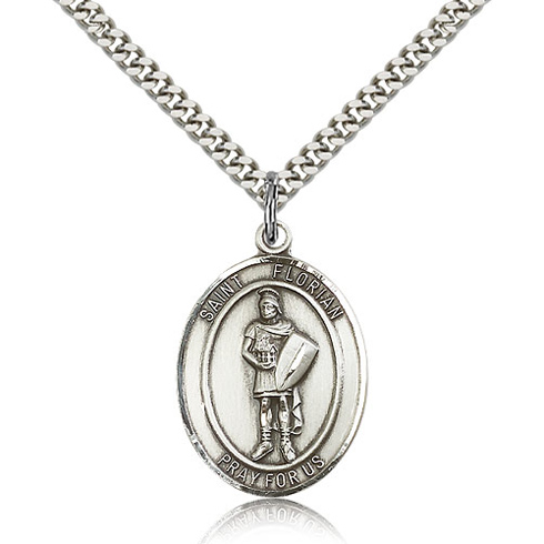 Sterling Silver 1in St Florian Medal & 24in Chain