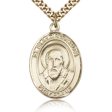 Gold Filled 1in St Francis de Sales Medal & 24in Chain