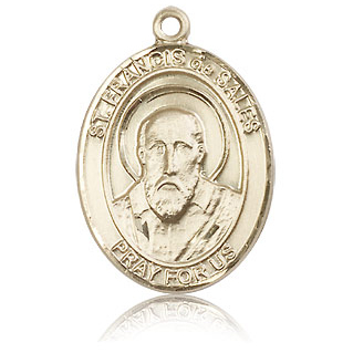 14kt Yellow Gold 1in St Francis de Sales Medal