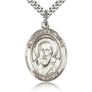 Sterling Silver 1in St Francis de Sales Medal & 24in Chain
