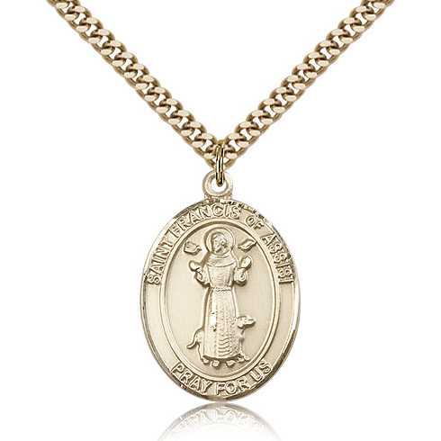Gold Filled 1in Oval St Francis Medal & 24in Chain