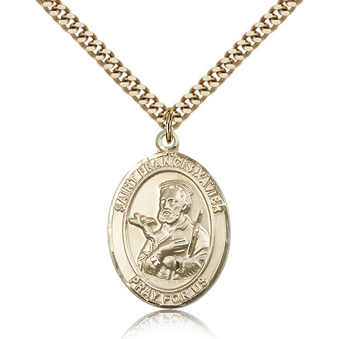 Gold Filled 1in St Francis Xavier Medal & 24in Chain