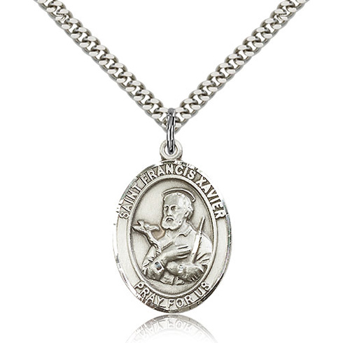 Sterling Silver 1in St Francis Xavier Medal & 24in Chain