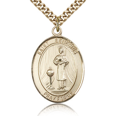 Gold Filled 1in St Genesius Medal & 24in Chain
