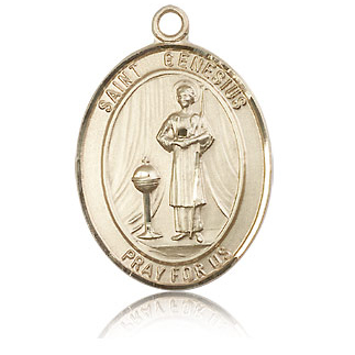 14kt Yellow Gold 1in St Genesius Medal