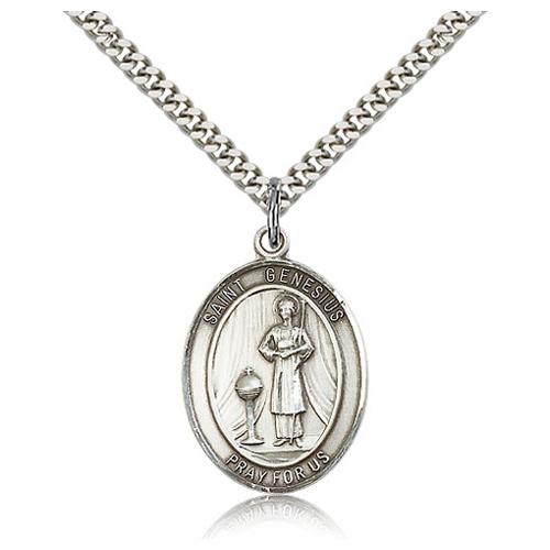 Sterling Silver 1in St Genesius Medal & 24in Chain