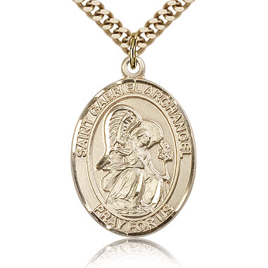 Gold Filled 1in St Gabriel Medal & 24in Chain