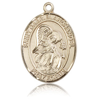 14kt Yellow Gold 1in St Gabriel Medal