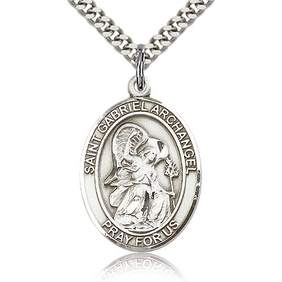 Sterling Silver 1in St Gabriel Medal & 24in Chain