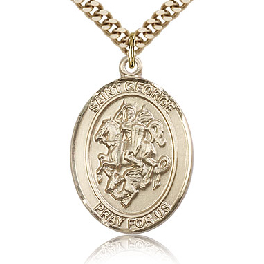Gold Filled 1in St George Medal & 24in Chain