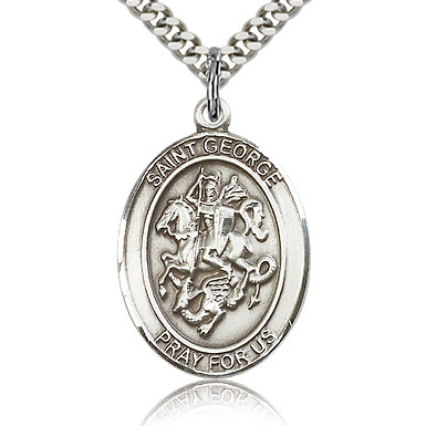 Sterling Silver 1in St George Medal & 24in Chain