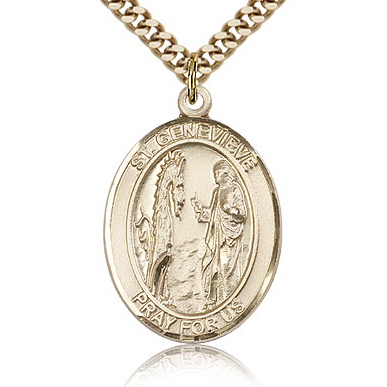 Gold Filled 1in St Genevieve Medal & 24in Chain