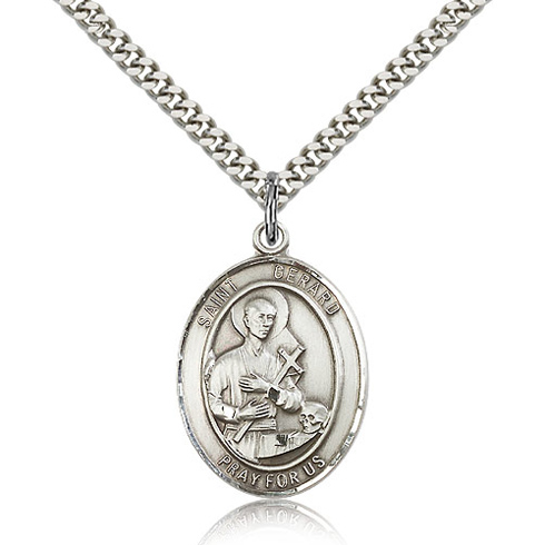 Sterling Silver 1in St Gerard Pray For Us Medal & 24in Chain
