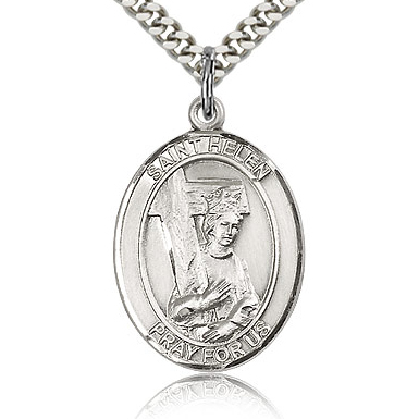 Sterling Silver 1in St Helen Medal & 24in Chain