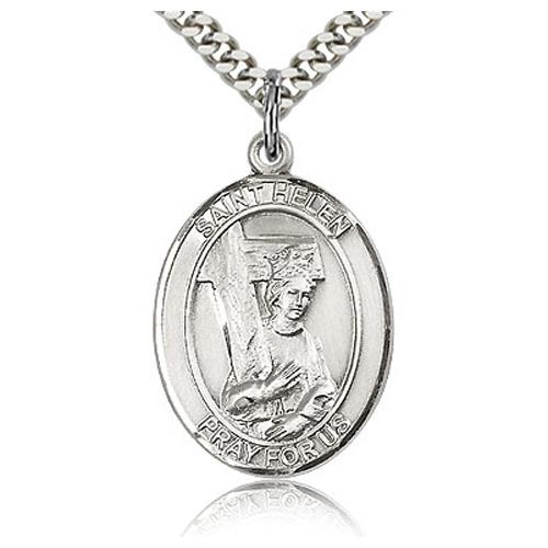 Sterling Silver 1in St Helen Medal & 24in Chain