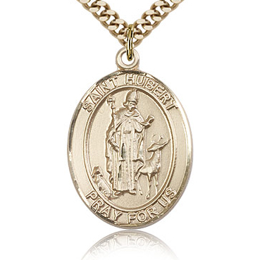 Gold Filled 1in St Hubert Medal & 24in Chain
