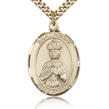 Gold Filled 1in St Henry II Medal & 24in Chain
