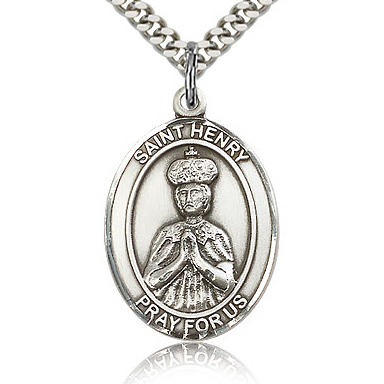 Sterling Silver 1in St Henry II Medal & 24in Chain