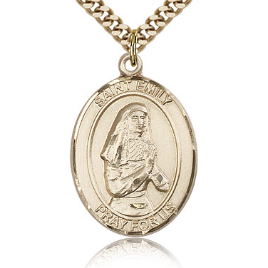 Gold Filled 1in St Emily Medal & 24in Chain