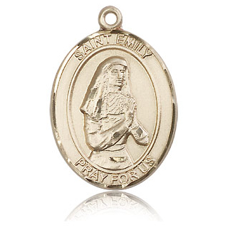 14kt Yellow Gold 1in St Emily Medal