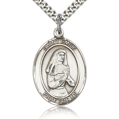 Sterling Silver 1in St Emily Medal & 24in Chain
