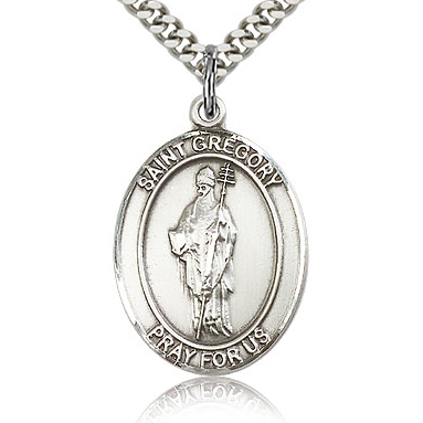 Sterling Silver 1in St Gregory Medal & 24in Chain