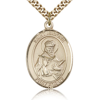 Gold Filled 1in St Isidore of Seville Medal & 24in Chain