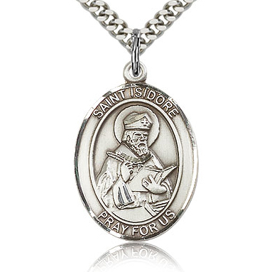 Sterling Silver 1in St Isidore of Seville Medal & 24in Chain