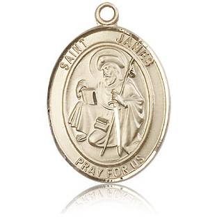 14kt Yellow Gold 1in St James the Greater Medal