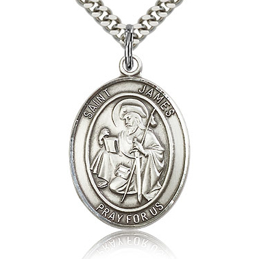 Sterling Silver 1in Oval St James Medal & 24in Chain