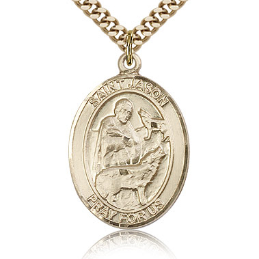 Gold Filled 1in St Jason Medal & 24in Chain