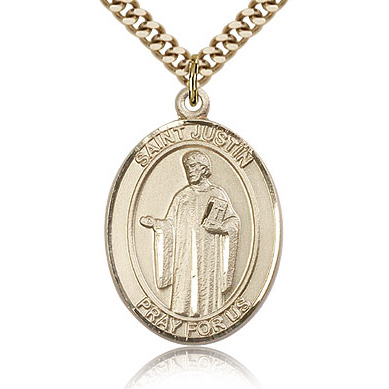 Gold Filled 1in St Justin Medal & 24in Chain