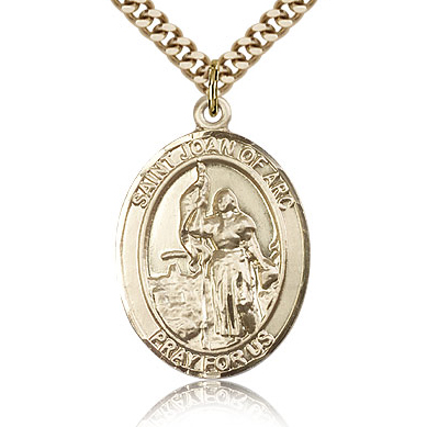 Gold Filled 1in St Joan of Arc Medal & 24in Chain