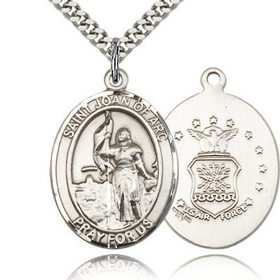 Sterling Silver 1in St Joan of Arc Air Force Medal & 24in Chain