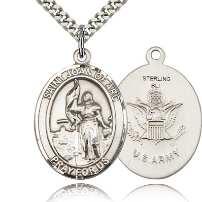 Sterling Silver 1in St Joan of Arc Army Medal & 24in Chain